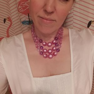 3 Strand Beaded Costume Necklace